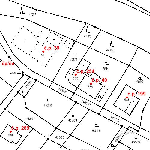 Katastrální mapa Stavební objekt Kunčice 254, Letohrad
