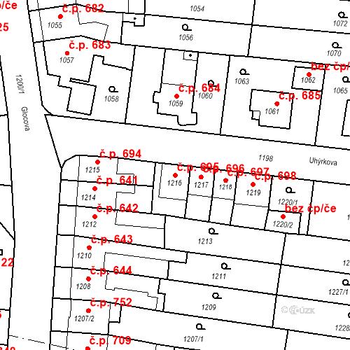 Katastrální mapa Stavební objekt Tuřany 695, Brno