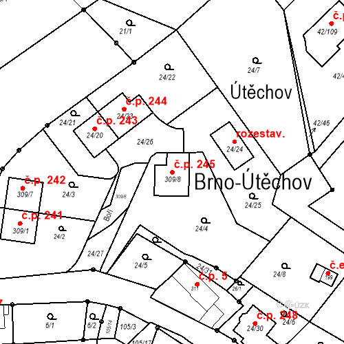 Katastrální mapa Stavební objekt Útěchov 245, Brno