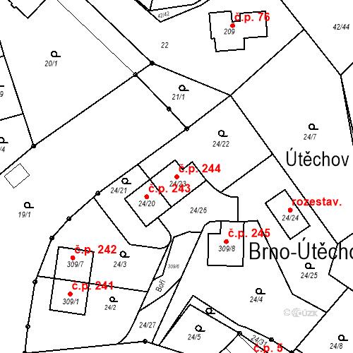 Katastrální mapa Stavební objekt Útěchov 244, Brno