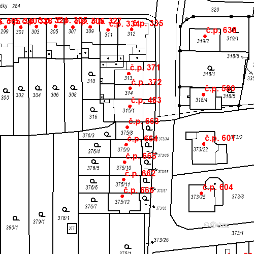 Katastrální mapa Stavební objekt Obřany 663, Brno