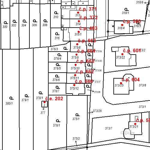Katastrální mapa Stavební objekt Obřany 662, Brno