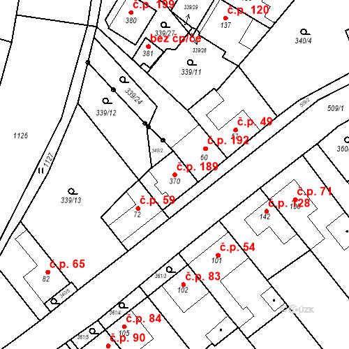 Katastrální mapa Stavební objekt Skalice nad Svitavou 189, Skalice nad Svitavou