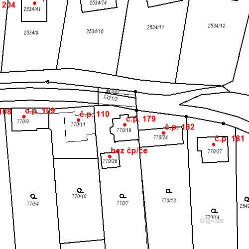 Katastrální mapa Stavební objekt Milovice 179, Milovice
