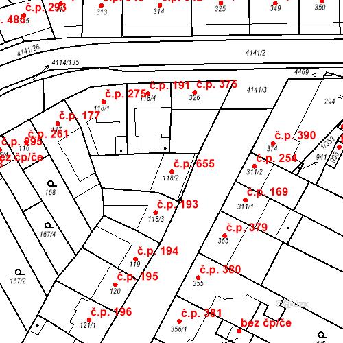 Katastrální mapa Stavební objekt Velké Němčice 655, Velké Němčice
