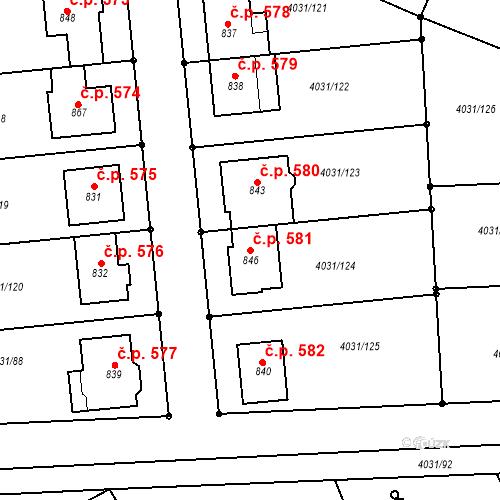 Katastrální mapa Stavební objekt Velké Němčice 581, Velké Němčice