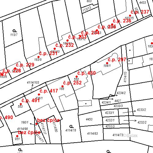 Katastrální mapa Stavební objekt Velké Němčice 450, Velké Němčice