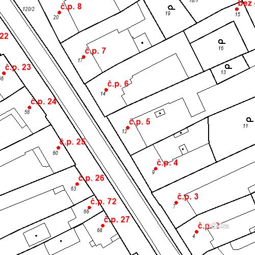 Katastrální mapa Stavební objekt Holásky 5, Brno