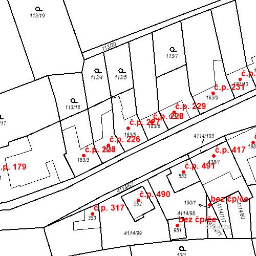 Katastrální mapa Stavební objekt Velké Němčice 227, Velké Němčice