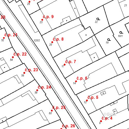 Katastrální mapa Stavební objekt Holásky 7, Brno