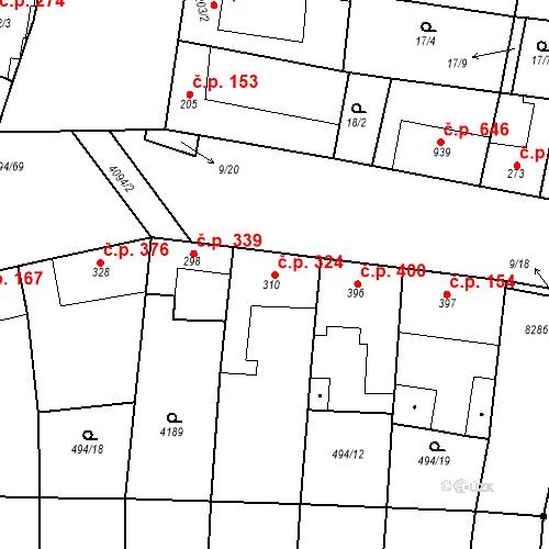 Katastrální mapa Stavební objekt Velké Němčice 324, Velké Němčice