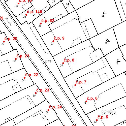 Katastrální mapa Stavební objekt Holásky 8, Brno
