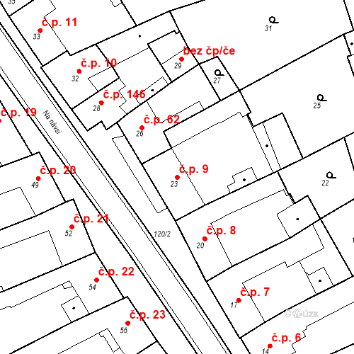 Katastrální mapa Stavební objekt Holásky 9, Brno