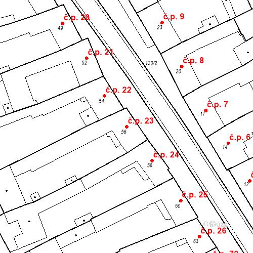 Katastrální mapa Stavební objekt Holásky 23, Brno