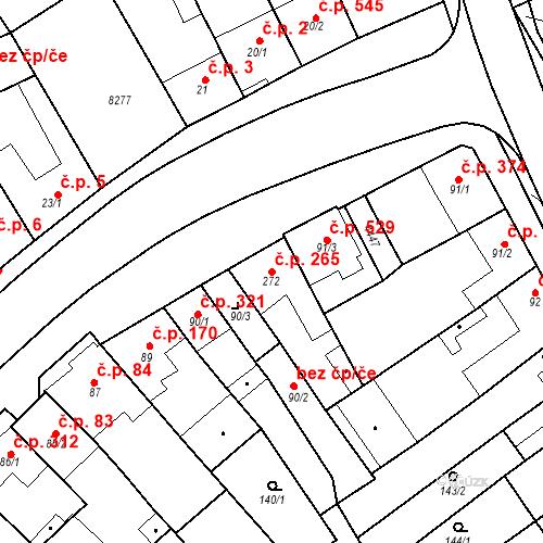 Katastrální mapa Stavební objekt Velké Němčice 265, Velké Němčice