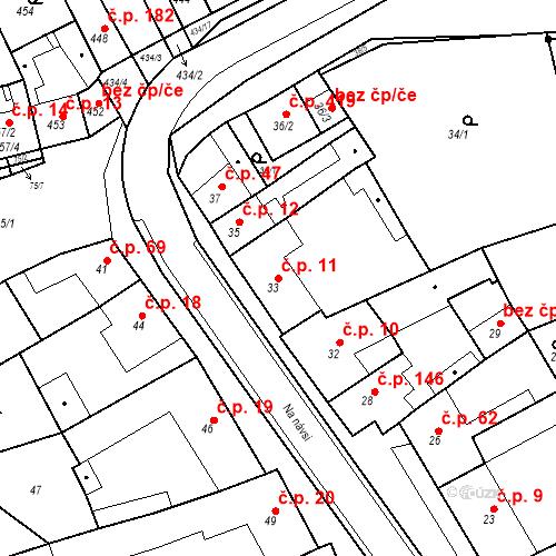 Katastrální mapa Stavební objekt Holásky 11, Brno