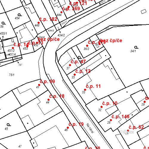 Katastrální mapa Stavební objekt Holásky 12, Brno