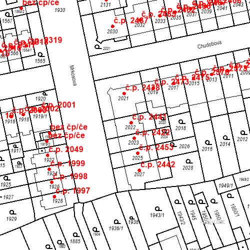 Katastrální mapa Stavební objekt Židenice 2441, Brno