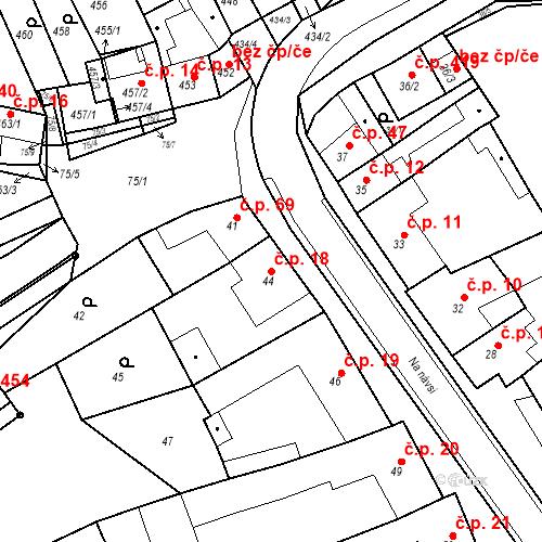 Katastrální mapa Stavební objekt Holásky 18, Brno