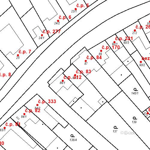 Katastrální mapa Stavební objekt Velké Němčice 83, Velké Němčice
