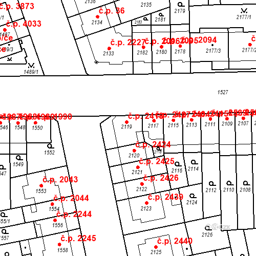 Katastrální mapa Stavební objekt Židenice 2418, Brno