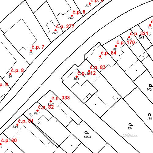 Katastrální mapa Stavební objekt Velké Němčice 312, Velké Němčice