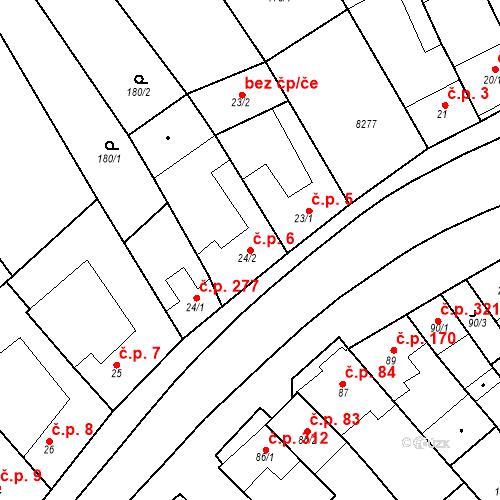 Katastrální mapa Stavební objekt Velké Němčice 6, Velké Němčice