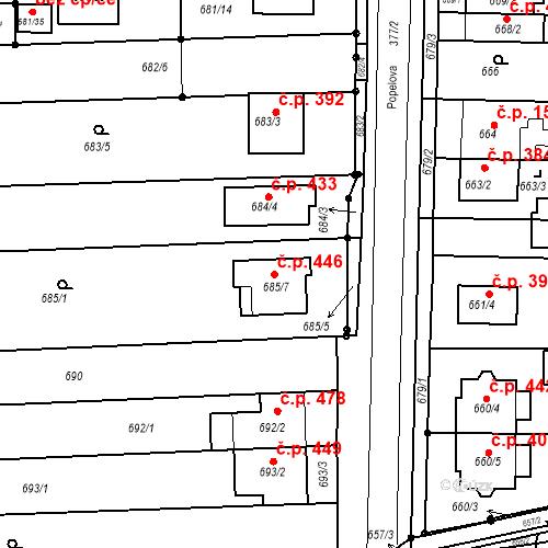 Katastrální mapa Stavební objekt Holásky 446, Brno