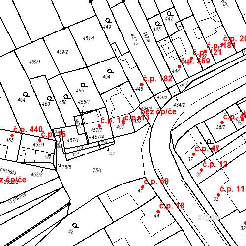 Katastrální mapa Stavební objekt Holásky 13, Brno