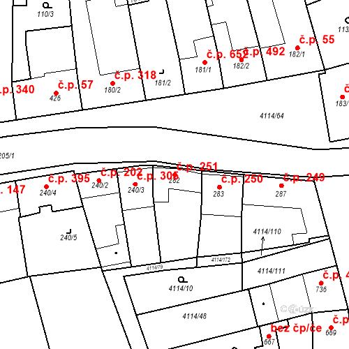 Katastrální mapa Stavební objekt Velké Němčice 251, Velké Němčice