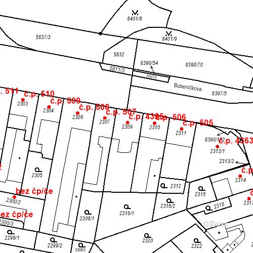 Katastrální mapa Stavební objekt Židenice 4385, Brno