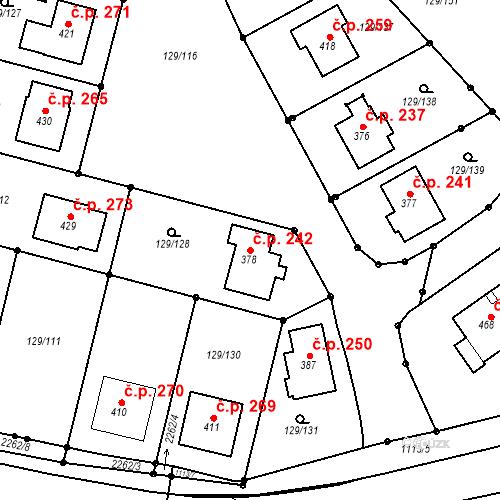 Katastrální mapa Stavební objekt Třebětín 242, Letovice