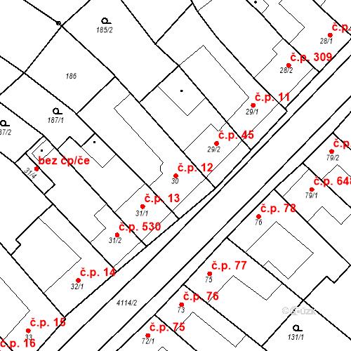 Katastrální mapa Stavební objekt Velké Němčice 12, Velké Němčice