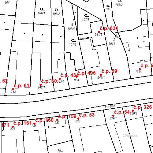 Katastrální mapa Stavební objekt Velké Němčice 496, Velké Němčice
