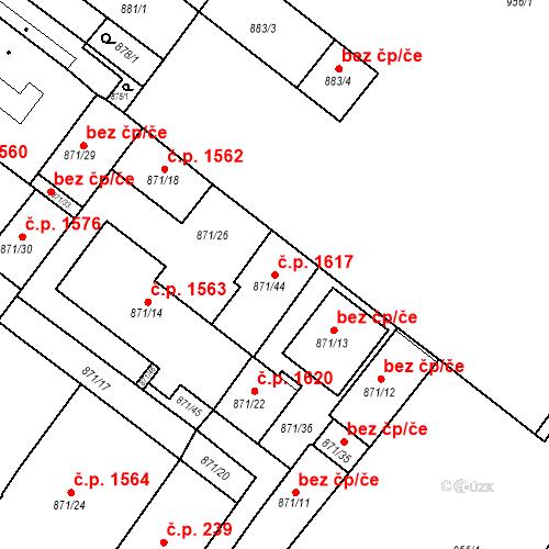 Katastrální mapa Stavební objekt Husovice 1617, Brno