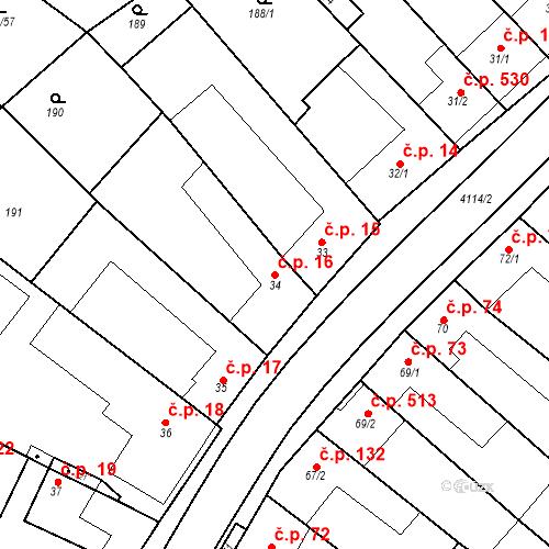 Katastrální mapa Stavební objekt Velké Němčice 16, Velké Němčice