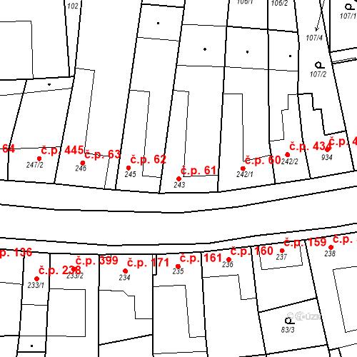 Katastrální mapa Stavební objekt Velké Němčice 61, Velké Němčice