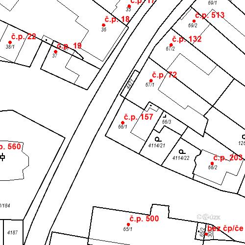Katastrální mapa Stavební objekt Velké Němčice 157, Velké Němčice