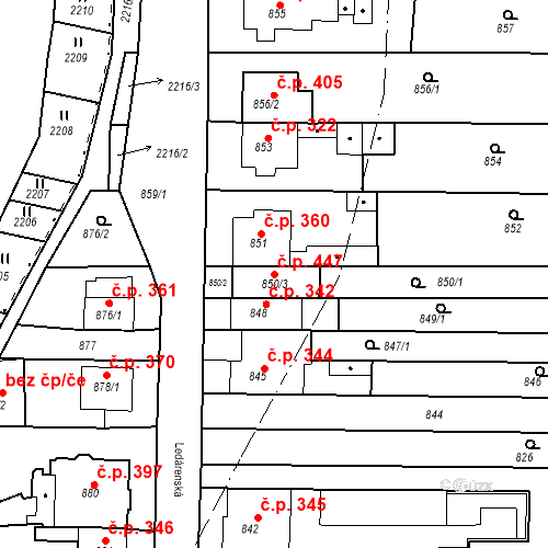 Katastrální mapa Stavební objekt Holásky 447, Brno