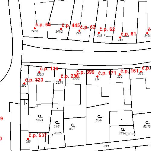 Katastrální mapa Stavební objekt Velké Němčice 399, Velké Němčice