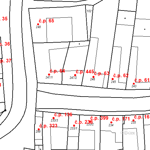 Katastrální mapa Stavební objekt Velké Němčice 445, Velké Němčice