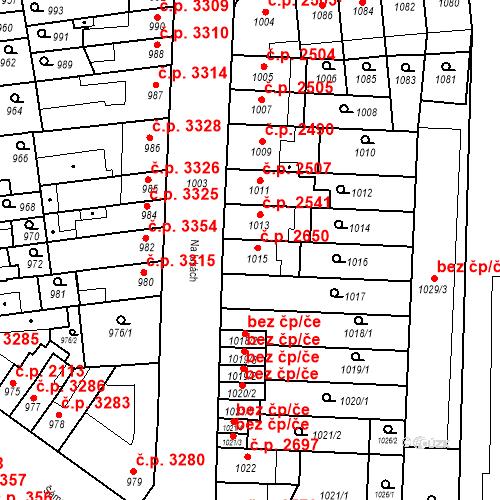 Katastrální mapa Stavební objekt Židenice 2650, Brno