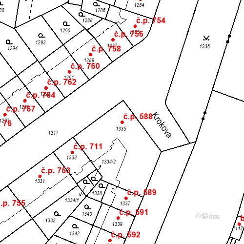 Katastrální mapa Stavební objekt Zábrdovice 588, Brno