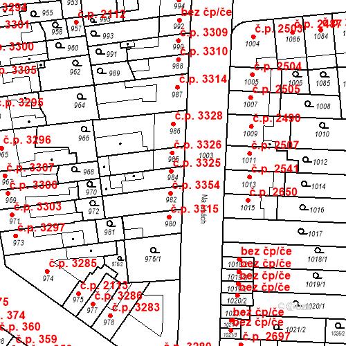 Katastrální mapa Stavební objekt Židenice 3325, Brno