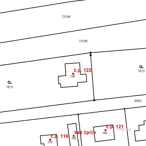 Katastrální mapa Stavební objekt Obora 122, Obora