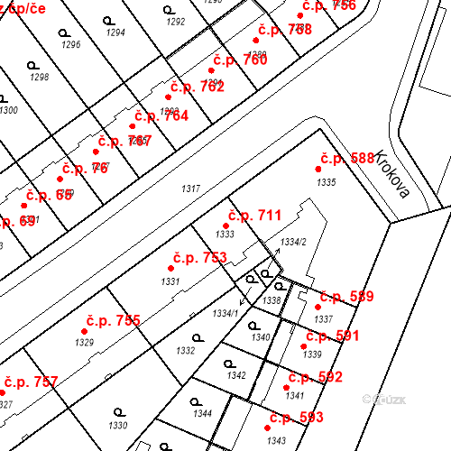 Katastrální mapa Stavební objekt Zábrdovice 711, Brno