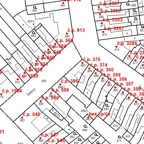 Katastrální mapa Stavební objekt Židenice 375, Brno