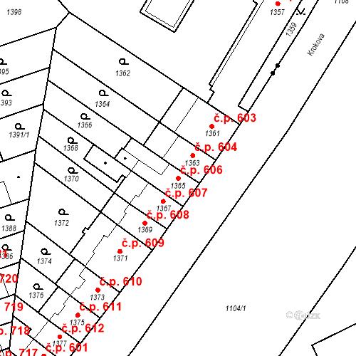 Katastrální mapa Stavební objekt Zábrdovice 606, Brno