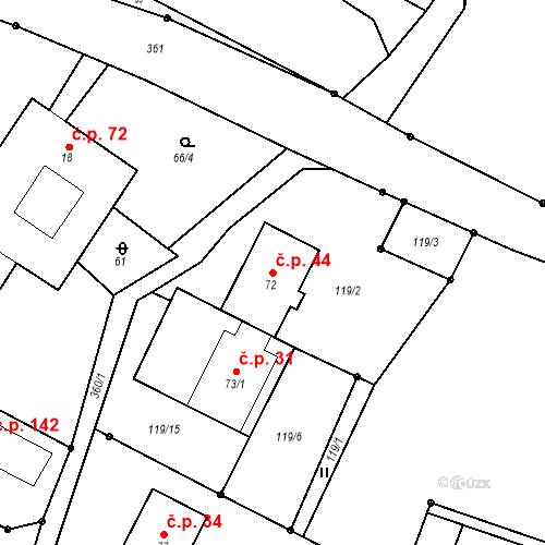 Katastrální mapa Stavební objekt Deštná 44, Deštná