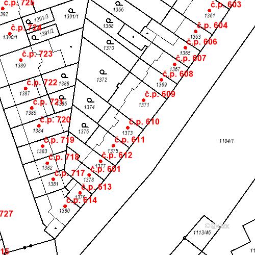 Katastrální mapa Stavební objekt Zábrdovice 610, Brno